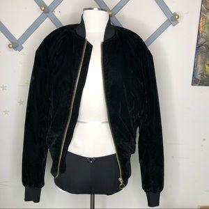 Divided H & M black Velveteen bomber jacket